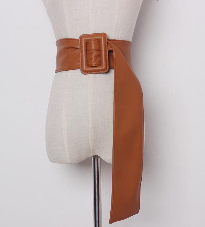 Women's Runway Fashion Wide Pu Leather Long Cummerbunds Female Dress Corsets Waistband Belts Decoration Wide Belt R898