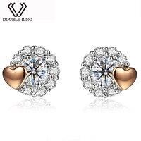 MZH Fine Jewelry Bijouterie 18K Gold Heart Diamond Romantic Earrings For Women Ladies Bridal Wedding Love