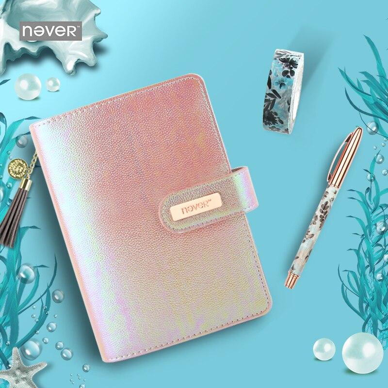 Jamais coloré série océan A6 planificateur couverture en cuir cahier à spirale journal personnel chancellerie étudiant école cadeau papeterie