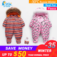 SP SHOW Fleece Winter Children NewBorn Baby Boy Girl Baby Clothing Sets snow jumpsuits Super Warm Down Baby Climb Clothe