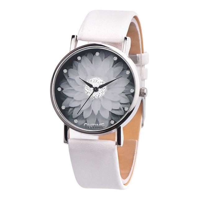 New Fashion Ladies Watch Womens Flower Casual Leather Analog Quartz Wrist Watches Quartz Clock Gifts Relogio Feminino 2018  A65