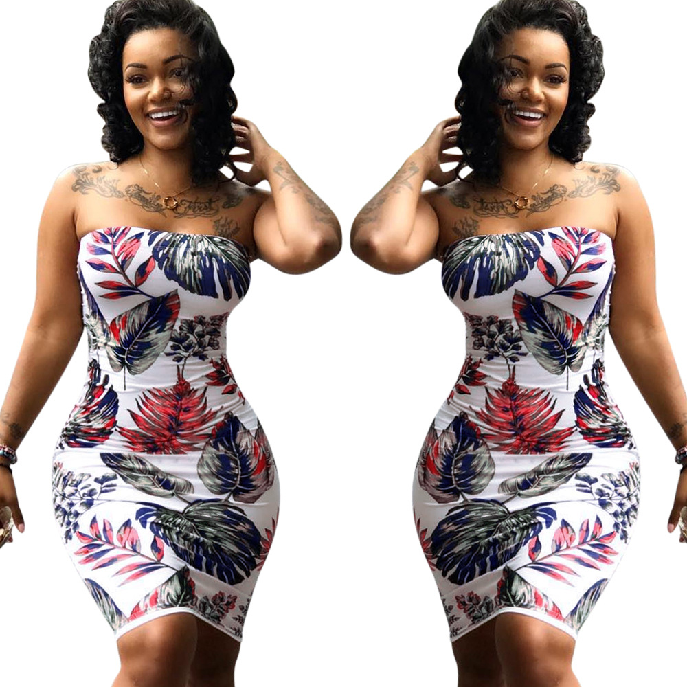 strapless sexy leaf print mature women bodycon dress sexy summer