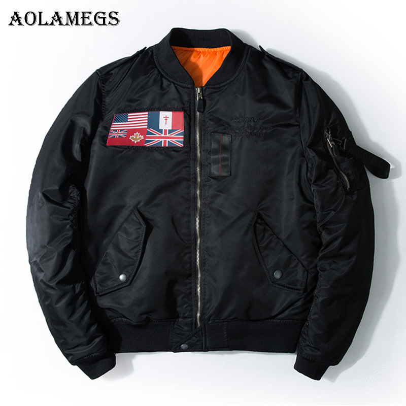 Aolamegs Bomber Jacket Country Banner Men
