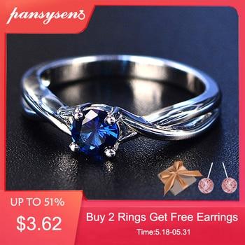 978dc58d8b05 PANSYSEN zafiro anillos de plata 925 de ley 5mm diamante boda anillo plata  de ley 925 mujer joyas Anillos De Compromiso anillos de plata esterlina  para ...