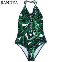 BANDEA New One Piece Swimsuit Halter Bikinis 2017 Swimming Suits Print Swimwear Green Leaf Swimsuit Bathing