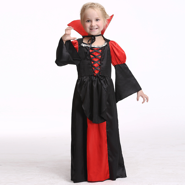 children girls princess vampire costumes day halloween costume for kids long dress carnival party cosplay