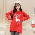 Winter Long Sleeve Maternity Clothing Thickened with Velvet Loose All-Macth Casual Fleece Print Deer Maternity Dresses Tops