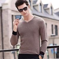 New Fashion Men Sweater 2017 V Neck Pullovers Men Slim Fits 100 Wool Solid Color Patchwork