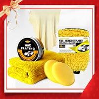 AutoCare Car Wash Clean Wax Kit Leather Chamois Car Wax Microfiber Towel Waterproof Glove Car Care Kit