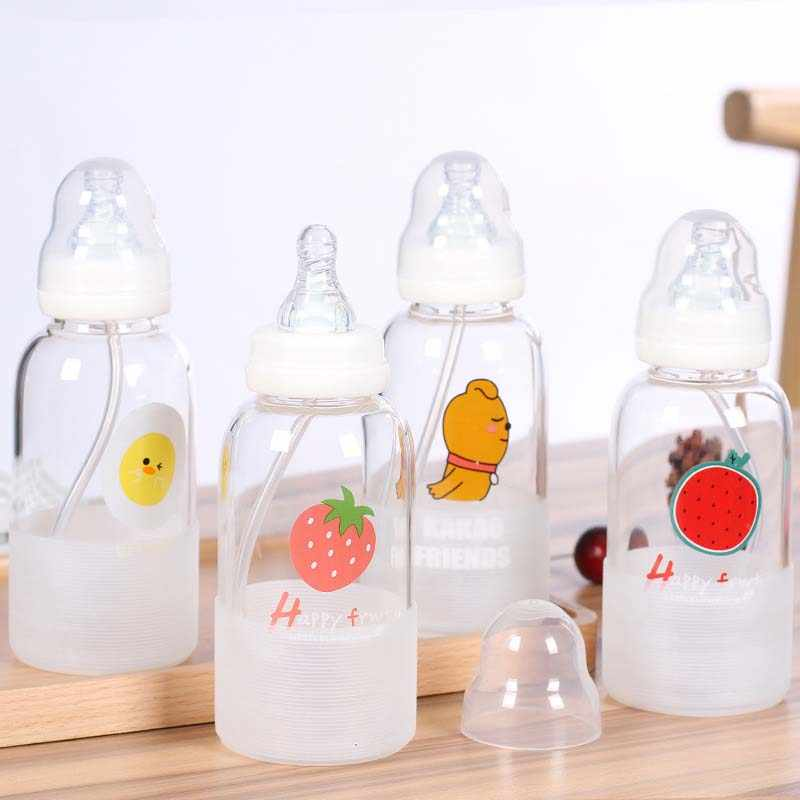 Infant Baby Bottles Cute Cartoon Automatic Baby Learning To Drink Bottle Non-toxic Crystal Glass Nursing Feeder 300ml