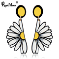 RAVIMOUR Big Long Earrings for Women Black Yellow Plastic Daisy Flower Dangle Earing Fashion Jewelry Punk Korean Style New 2017