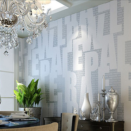 High-Grade Non-woven 3D Letter Wallpaper Printing Flocking Wall Paper Roll Vintage Home Decor papel de parede Silver Yellow beibehang papel parede europe damascus 3d stereo embossed wallpaper home decor ecofriendly bedroom non woven wall paper roll