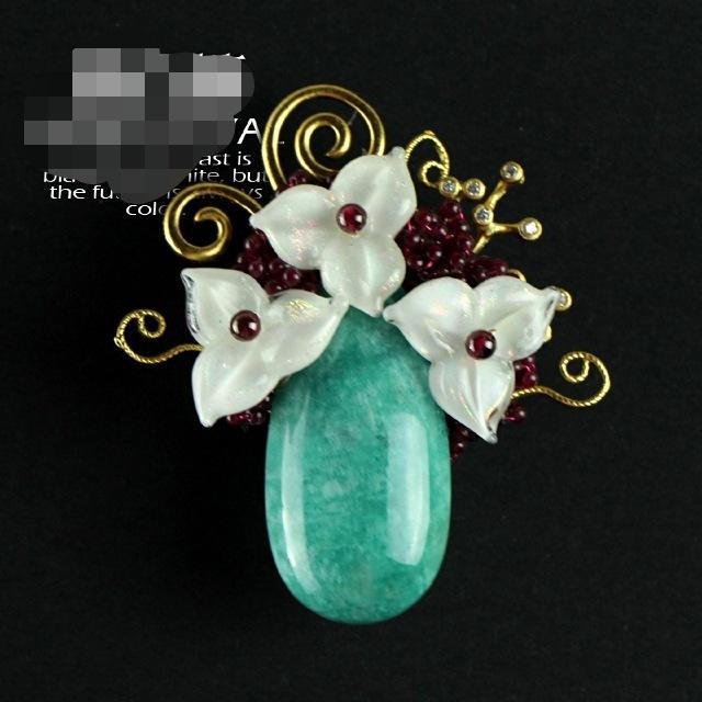 Natural Pedra Semi-preciosa Pendant Amazonit Amazon Pedra Com Shell Flor Broche pinos 5175A Frete Grátis