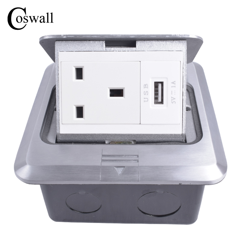 Coswall All Aluminum Silver Panel Pop Up Floor Socket UK Standard Power Outlet With USB Charging Port manufacturer all aluminum panel eu standard pop up floor socket single power outlet dual usb port page 2