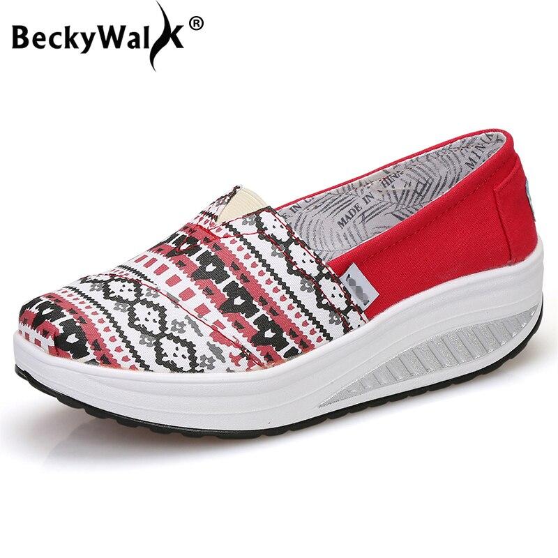 Kenntnisreich Beckywalk Frühling Tuch Frauen Leinwand Schuhe Damen Reisen Schuhe Bequeme Beiläufige Schuhe Frau Plattform Weibliche Müßiggänger Wsh2938