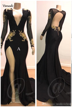 2019 Black Deep V Neck Satin Mermaid Prom Dresses Long Sleeves Lace Applique Split Backless Sweep Train Formal Party Evening Gow