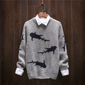 2016 Japanese Retro Men Christmas Sweater Fashion Thickening Men's knitted Sweater Patterns Shark O-neck Sweaters Men Pullovers