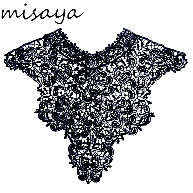⓪Misaya 1pc Polyester Black Flower Lace Neckline Fabric 369693a049e1
