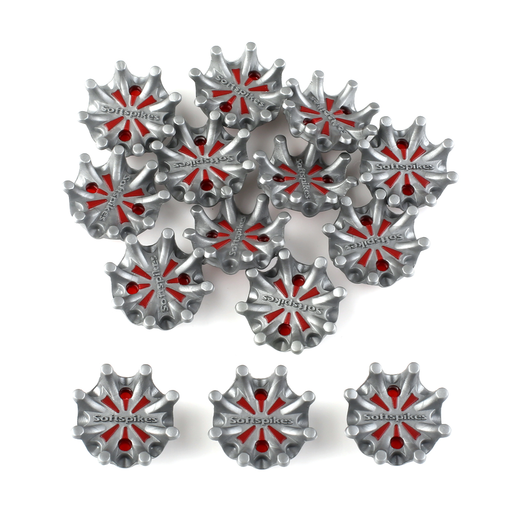 14pcs Metal Thread Soft Golf Shoe Spikes Studs Replacement Fits for FootJoy Grey+Red
