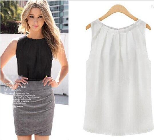 0e9c516bac Sexy Fold Sleeveless Chiffon Plus Size Casual White Blouse camisas  femininas Blusas 2015