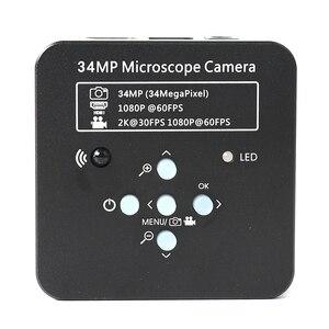Image 5 - 3.5X 90X לבטא זרוע עמוד מהדק זום Simul מוקד סטריאו Trinocular מיקרוסקופ + 34MP וידאו מצלמה עבור תעשייתי PCB