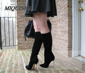 newest black nubuck leather knee high boots women metal thin high heel pointed toe long boots inner zipper patchwork shoes