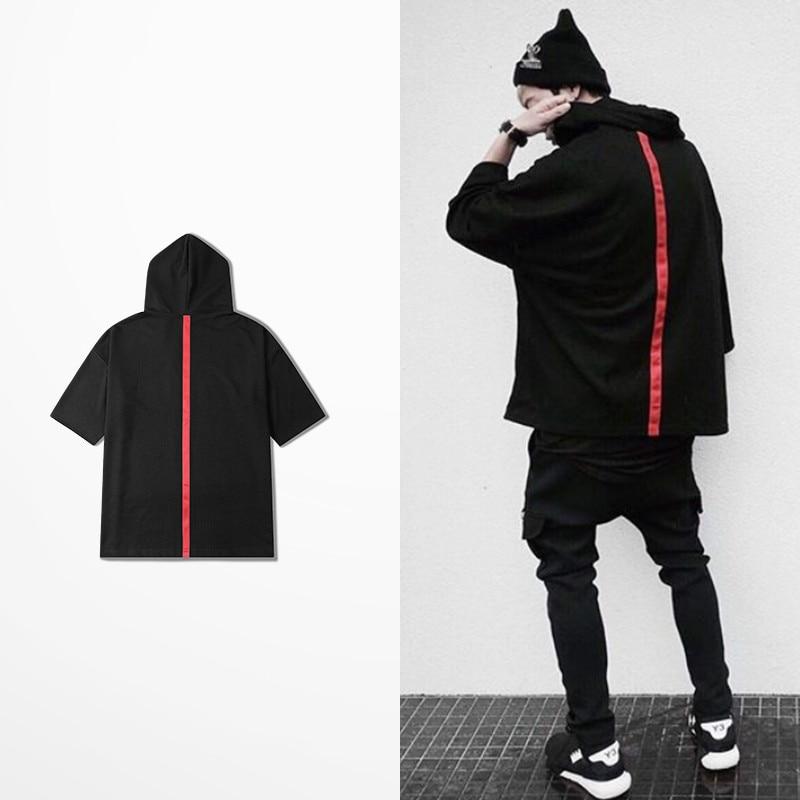 High Street Short Sleeve With Cap Hoodie Men Hip Hop Skateboard Red Strip Sweatshirt Men Justin Bieber Mens Kpop