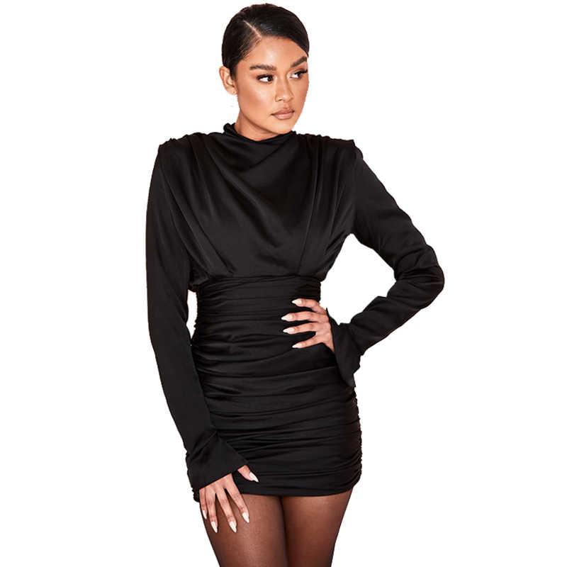 5b90f5e5f396 ... Women Bodycon Party Dresses 2018 Elegant Black Satin Dress Long Sleeve  Turtleneck Ruched Mini Dress Clubwear