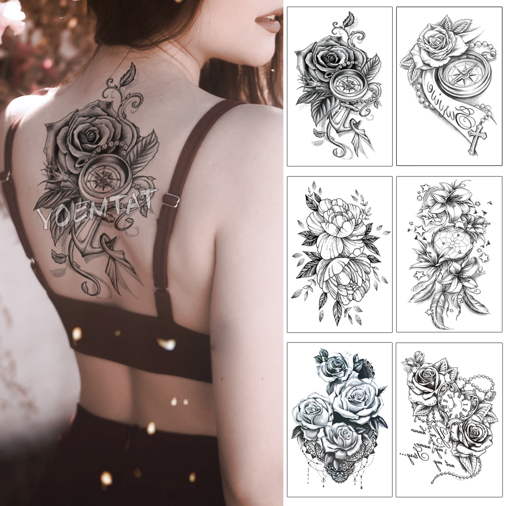 3D Rose Anchor Clock Pearl Waterproof Temporary Tattoo Sticker Black Arm Back Flowers Big Tatto Body Art Fake Tatoo For Women