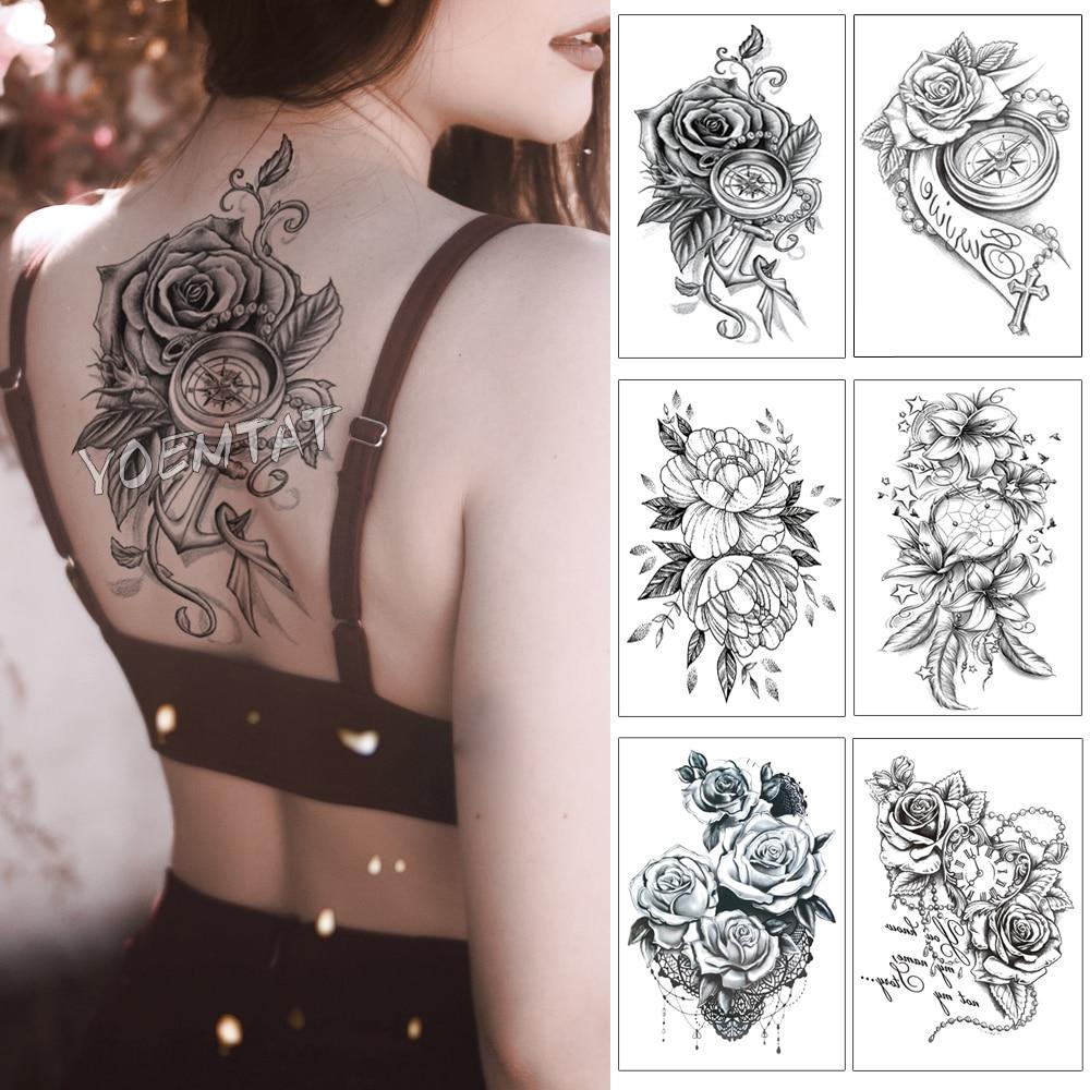 3D Rose Anchor Clock Pearl Waterproof Temporary Tattoo Sticker Black Arm Back Flowers Big Tatto Body Art Fake Tatoo For Women