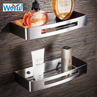 WEYUU Stainless Steel Bathroom Shelves Rectangle Basket Wall Mount Shampoo Soap Cosmetic Shelves Storage Organization