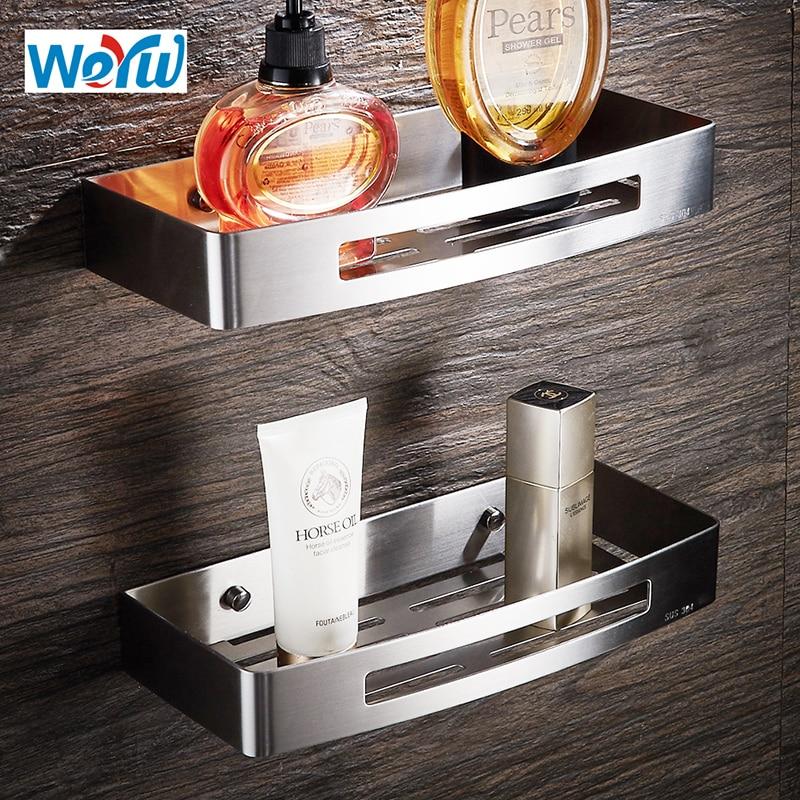 WEYUU Stainless Steel  Bathroom Shelves Rectangle Basket Wall Mount Shampoo Soap Cosmetic Shelves Storage Organization