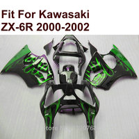 Fairing kit for Kawasaki ZX6R green flames black 2000 2001 2002 Ninja ZX 6R 636 00 01 02 fairings IN01