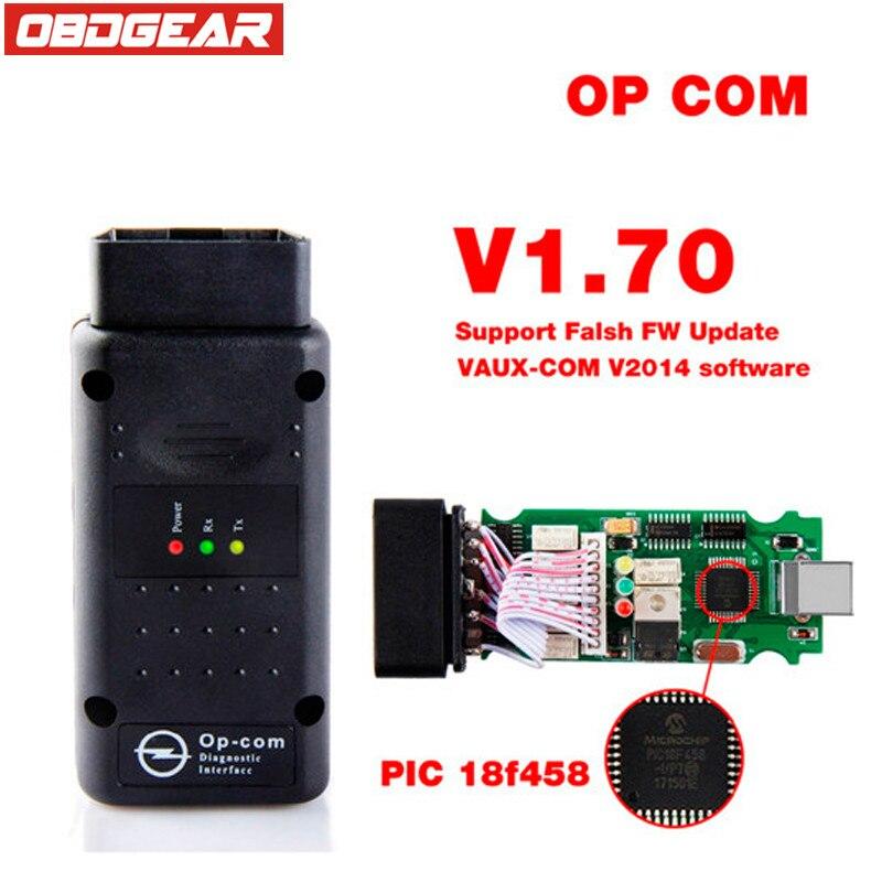 Op com 2017 OBD 2 V1.70 OBD2 Diagnostic-Tool For Opel With Real PIC18f458 OP-COM For Opel Car Diagnostic Scanner Flash Firmware