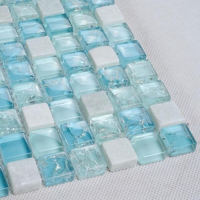 bleu clair cristal mosaïque mixte carreaux de pierre blanche salle ... - Mosaique Bleu Salle De Bain