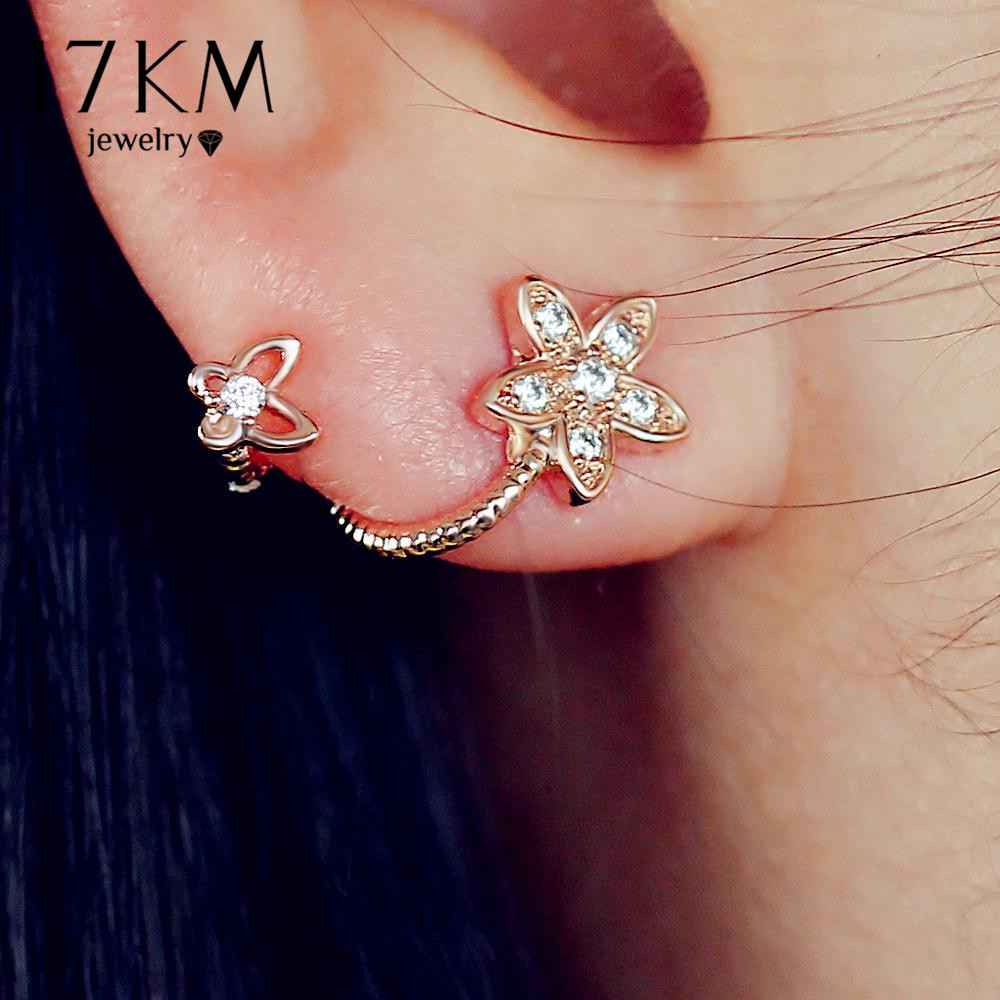 17KM Brand New Rose Gold Color Crystal Flower Earris