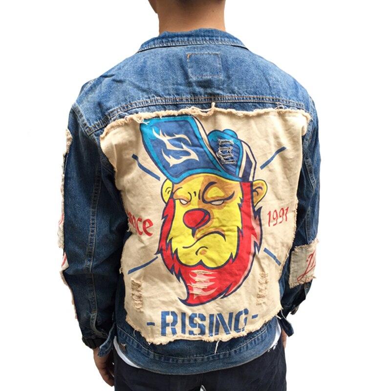Мужская джинсовая куртка, с аппликацией в виде льва, в стиле хип хоп, панк
