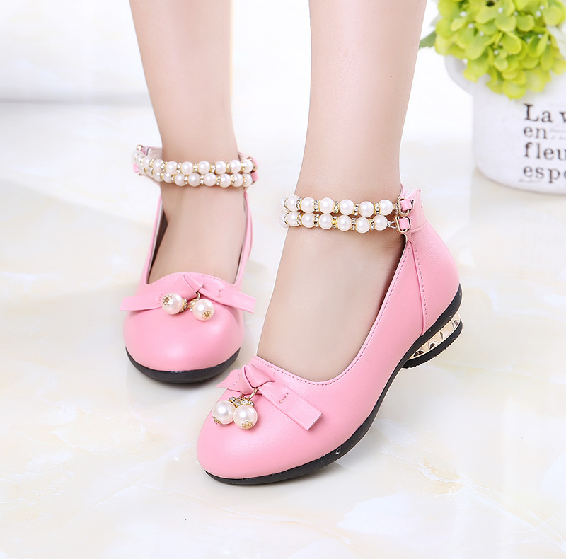2017 spring and autumn new fashion pink bow string pearl high-heeled student dance shoes big children children shoes shoes