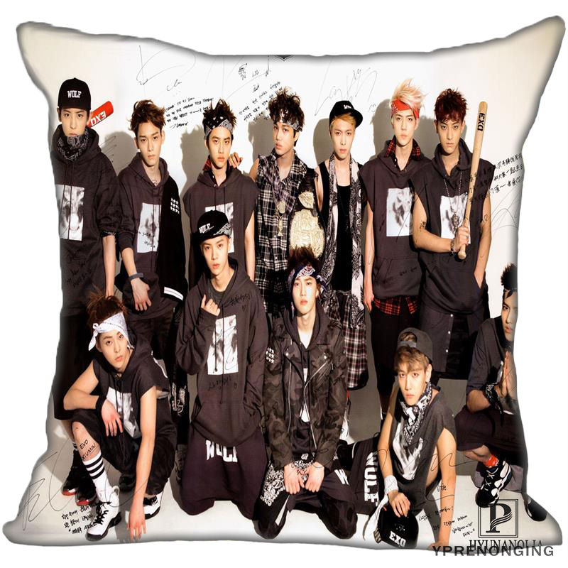Best Custom EXO  (2) Pillow Case Bedroom Home Square Zipper Pillowcases (One Side) #190404-01-121