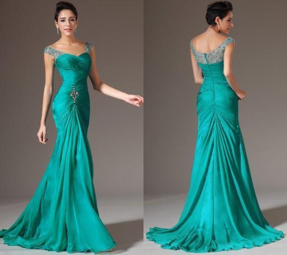 Вечерние платья зеленого цвета в пол