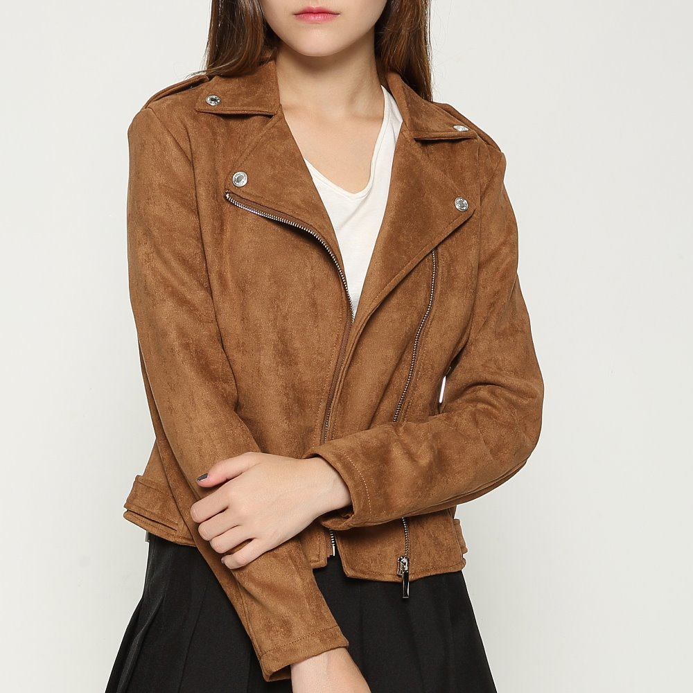 Women Autumn Winter Faux   Leather   Jacket Short Slim Fit   Suede   Jacket Soft Zippers Fashion Motorcycle 2019 New Coat Brown Red Pink