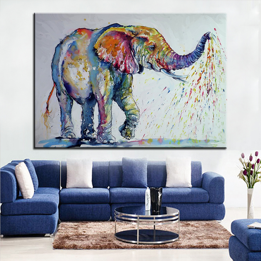 Large size Printing Oil Painting nice elephant Wall ...