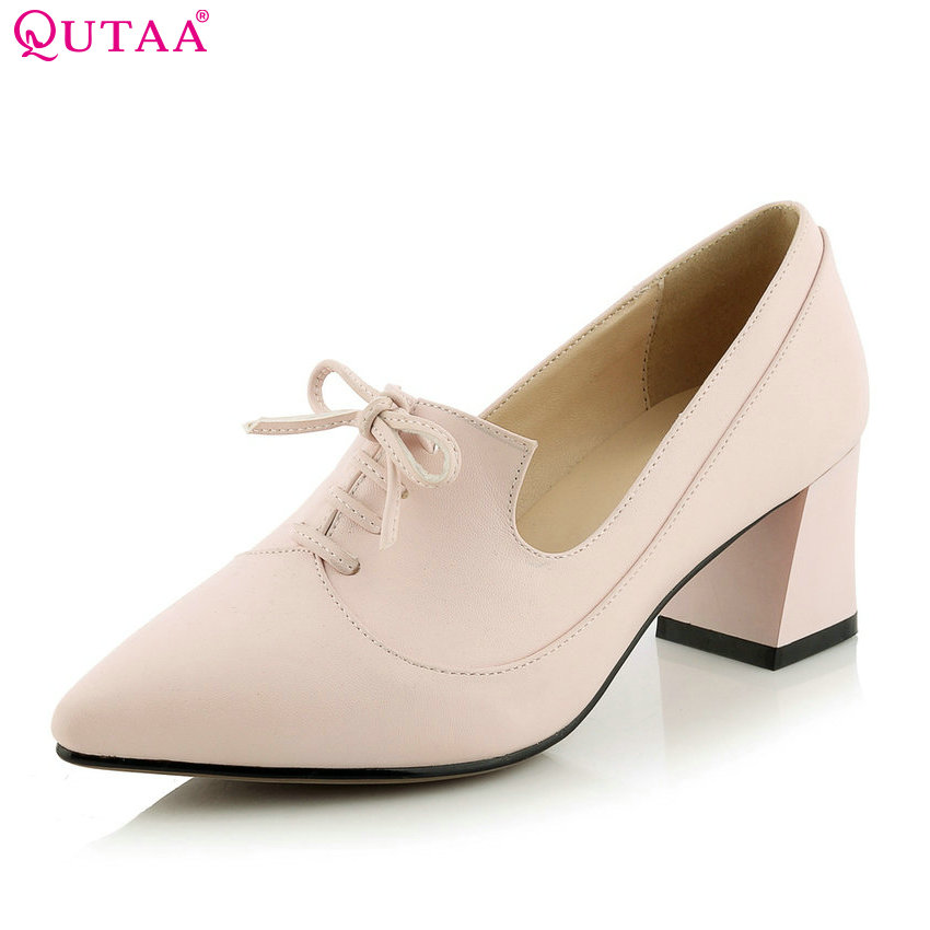 QUTAA Women Pumps Ladies Shoes Square High Heel PU Leather Slip On Concise Pointed Toe Woman Wedding Shoes Size 34-43 стоимость