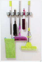 Kitchen Organizer Wall Shelf Mounted 5 Hangers & 6 Hooks Position Kitchen Storage Mop Brush Broom Organizer Holder Tool Hot sale