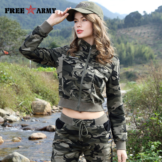 c3bf7a9225f78 FREEARMY Brand New Pattern Lady Short Jacket Women Casual Crop Top Jacket Military  Fashion Camouflage Jacket Coats Street Style