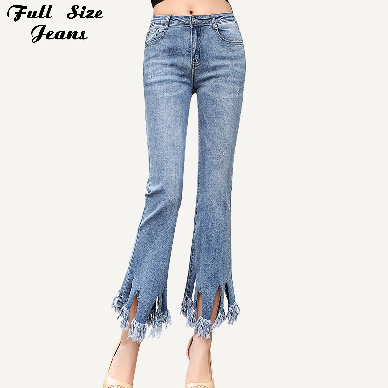 Plus Size Ultra Stretchy Blue Tassel Ripped Skinny Flare Jeans Mom 3Xl 5Xl Woman Capri Denim Pants Trousers Cropped Skinny Jeans