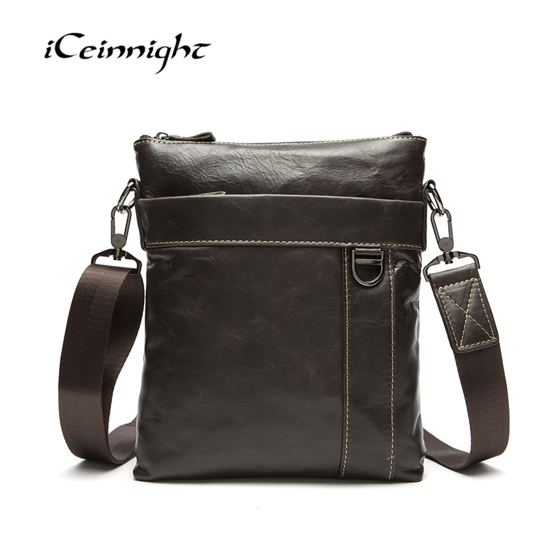 ФОТО iCeinnight 100% Genuine Leather Men Messenger Bags New Brand Male Cowhide Leather Business Crossbody Bags Casual Shoulder Bags
