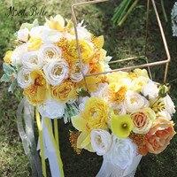 Modabelle עלה צהוב שנהב זרי כלה זרי חתונה מלאכותיים פרח סרט משי בעבודת יד הכלה Buque דה Noivas