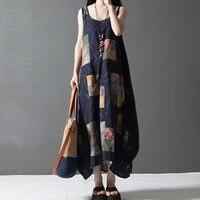 2017 Women Summer Elegant Vintage Loose Dress Ethnic Style Print O Neck Sleeveless Plus Size Maxi