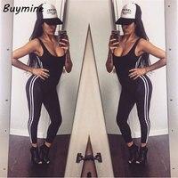 Women Fitness Jumpsuits Sexy Backless Sleeveless Jumpsuit 2017 Bandage Side  Striped Bodysuits Elegant Black Playsuit Be 016c21352